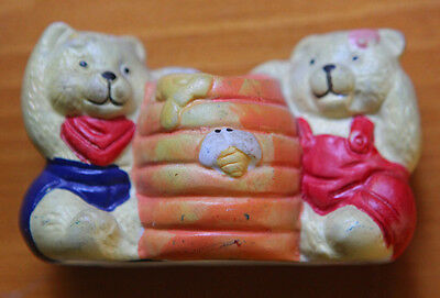 Vintage Hand Painted Ceramic Bears And Honey Barrel Toothpick Holder Japan