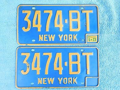 Vintage Original 1966 1973 New York License Plates NY Pair 3474-BT