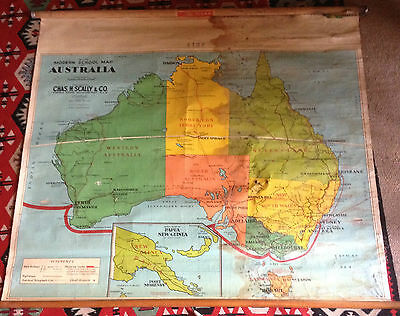 Vintage Large 1950's Canvas School Map Of Australia Chas Scally PU Only 3054