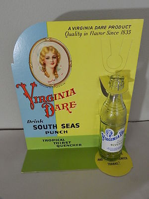 """1940's """"VIRGINIA DARE Store Counter Top DISPLAY SIGN with soda bottle UNUSED"""