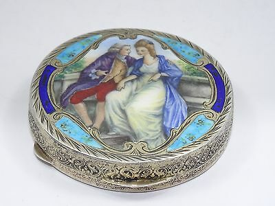 Antique Italian 800 Silver Enamel Painted Romantic Scene Compact Box ~ 2.75""