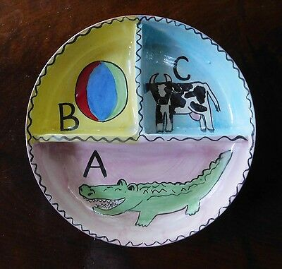 Vintage Hand Painted Pottery Baby Bowl Divided Sections ABC  Alligator Ball Cow