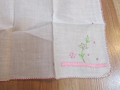 "Vintage Handkerchief Pink Embroidered 10.5"" x 11"""