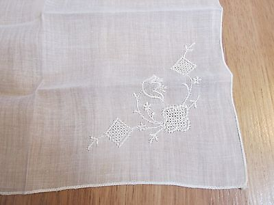 "Vintage Embroidered Handkerchief White Floral 10.25"" x 10.5"""