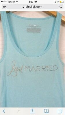 Victoria's Secret I Do Collection Just Married Tank Light Blue Small
