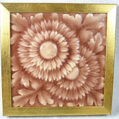 C1890s American Encaustic Tiling Company Majolica Tile - Relief Flower
