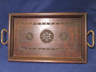 Antique / Vintage CHIP CARVED Wooden Tray With Brass Handles