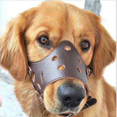 Leather Dog Puppy Basket Adjustable Training Muzzle No Bark Bite XS/S/M/L Size