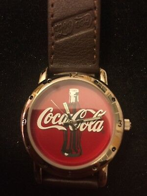 NOS 2002 Coca-Cola Watch with Leather Band and Coke Logo Face F17313-1/F