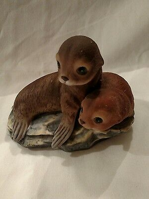 Pair Of Seals, Masterpiece Porcelain By Homco, 1981