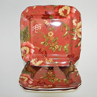 "3 222 Fifth Summer Botanical Lutece Fleur Rouge 6.25"" Appetizer Canape Plates"