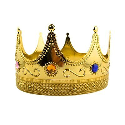 Regal Gold Plastic King Crown with Jewels Queen Prince Royal Accessory Bulk Lot