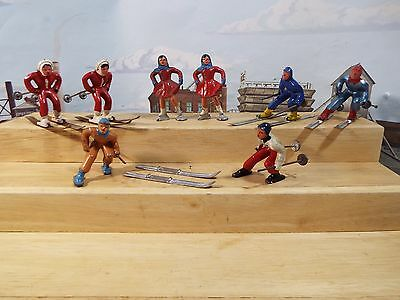 """BARCLAY LOT of LEAD HAND PAINTED WINTER 6 EA SKIERS AND 2 EA SKATERS 2 1/2"""" tall"""