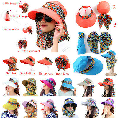 New Women Lady UV Sun Protection Wide Brim Packable Visor Cap Hat With Neck Flap