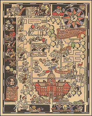 Johns Hopkins Hospital 1935 pictorial map POSTER Staff Students Patients 45484