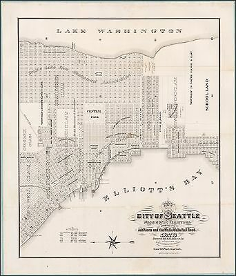 1875 pictorial first official map Seattle Washington Territory POSTER 50588
