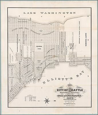 Seattle Washington Territory 1875 pictorial first official map POSTER 50588