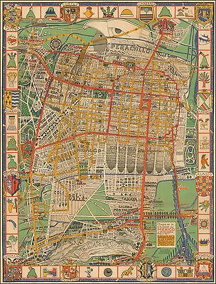 Mexico City 1932 pictorial map Transit and Power System Emily Edwards 50237
