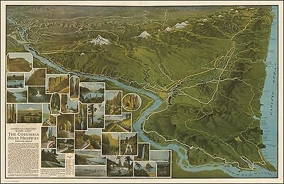 Columbia River Highway 1923 pictorial map POSTER  America's Greatest Scenic 0023
