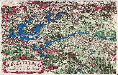 Redding California Industry in a Jeweled Setting 1950 pictorial map POSTER 45834