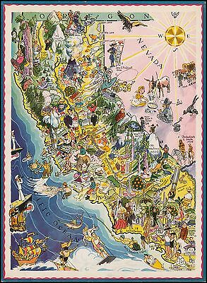 California 1932 caricature pictorial map POSTER 43460