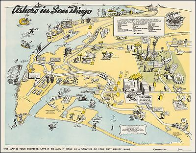 United States Naval Training Center San Diego pictorial map 1945 WWII 46899