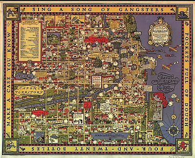 """1931 Chicago's gangland comic cartoon map """"the evils and sin of large cities"""""""