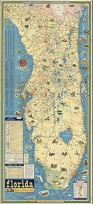 1932 PICTORIAL Historical Map of Florida Includes mileage table POSTER 9522003