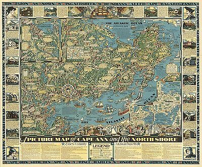 1934 Antique Map POSTER Cape Ann North Shore Essex County Massachusetts 6766002