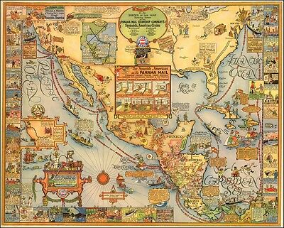 Panama Mail Steamship Company 1928 pictorial map POSTER 50236