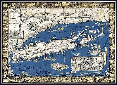1933 map Long Island NY from Brooklyn Queens to Hamptons Montauk POSTER 8631000