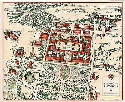1943 PICTORIAL map Stanford University campus buildings woods POSTER 8377000