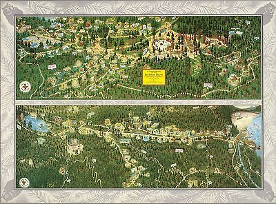 1952 PICTORIAL Map Bohemian Grove Sonoma County California POSTER 9877002