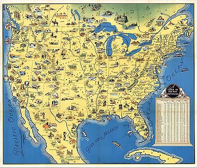 1936 PICTORIAL Map America Beauty Wonders Inspiration Without End POSTER 9526