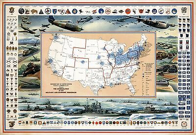1942 pictorial Defense Map United States Military Economic WW2 war POSTER 8840