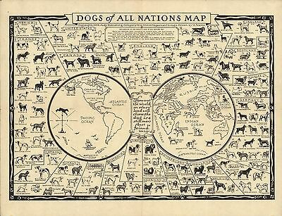 1936 pictorial map Dogs of All Nations breeds around the world POSTER 8832000