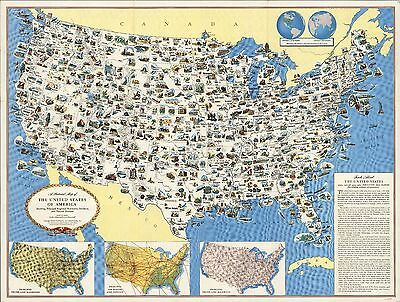 1950 Pictorial map United States products and natural features POSTER 8140003