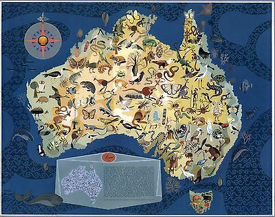 1940 pictorial map Australia with Decorative Animals POSTER 8829000