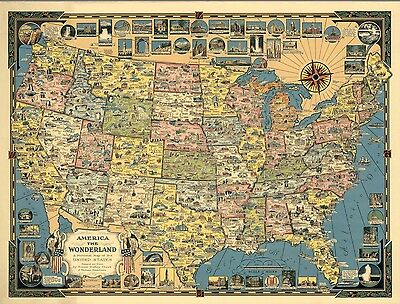 1941 PICTORIAL map America Wonderland Pictorial Map  United States POSTER 8105