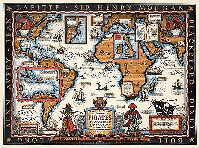 1938 PICTORIAL map famous pirates Buccaneers Freebooters Jolly Roger POSTER 8331