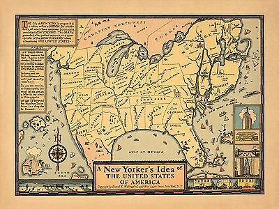 1939 pictorial map humorous New Yorker's idea of the United States POSTER 8225