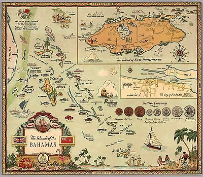 1951 pictorial Islands of the Bahamas fish markets commerce POSTER 8230000