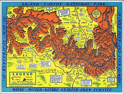 Grand Canyon National Park Hysterical 1940 Pictorial Map comic POSTER 11092