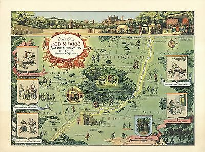 1955 Antique Map POSTER Robin Hood and his merry men Sherwood Forest 6757000