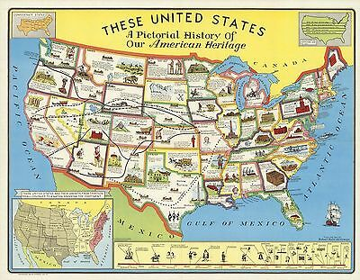 1949 PICTORIAL Map  United States history American heritage POSTER 9920
