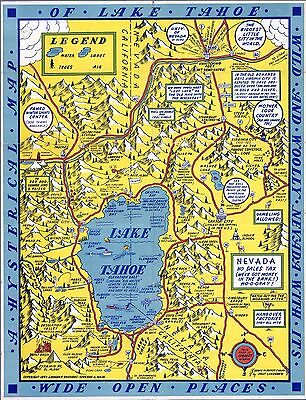 Lake Tahoe and Woolly Nevada Hysterical 1947 Pictorial Map comic POSTER 8793