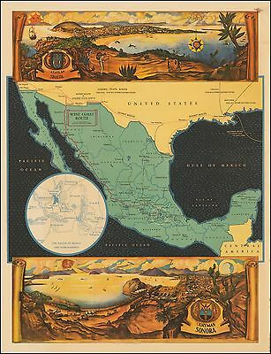 Southern Pacific Railways West Coast  Mexico Pictorial Map 49612