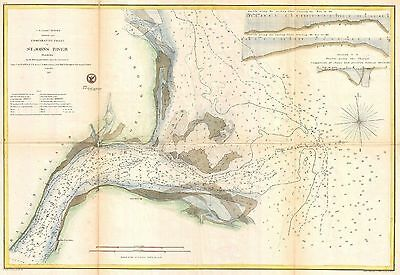 1857 Coastal Survey map Nautical Chart the Mouth of St. Johns River Florida