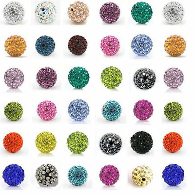20pcs DIY Czech Crystal Rhinestones Pave Clay Round Disco Ball Spacer Bead 10mm