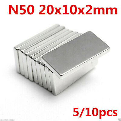 Super Strong Long Block Bar Magnet 20 x 10 x 2mm Rare Earth Neodymium N50 Grade